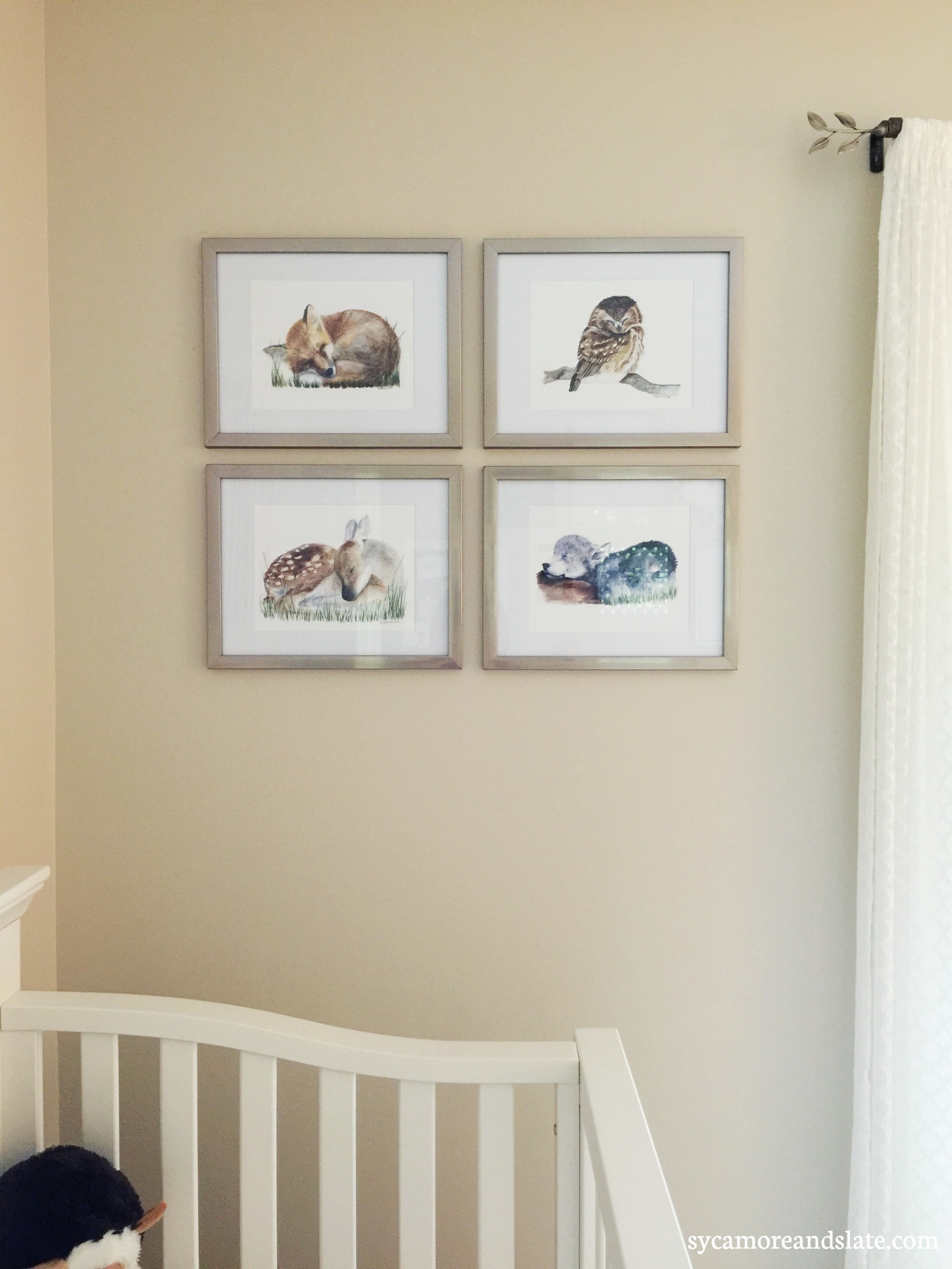 baby animal watercolor collage