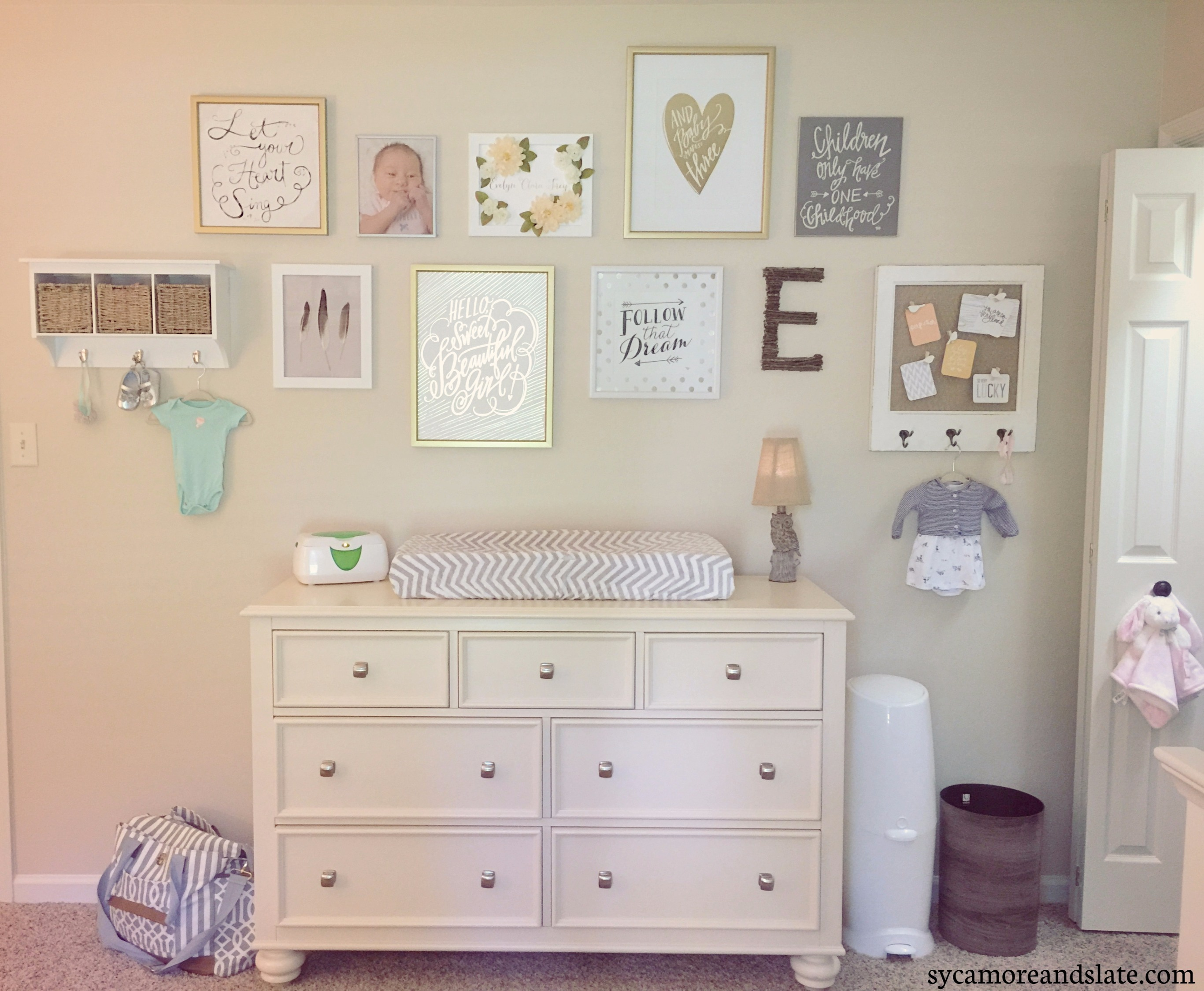 dresser with wall art