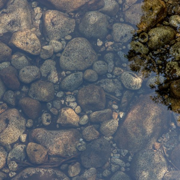 pebbles under water