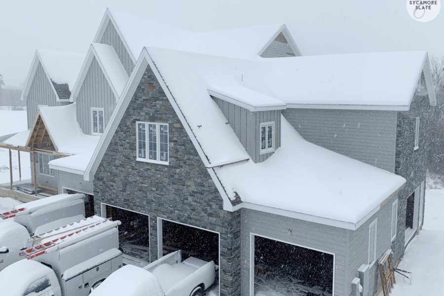 sycamore and slate winter farmhouse