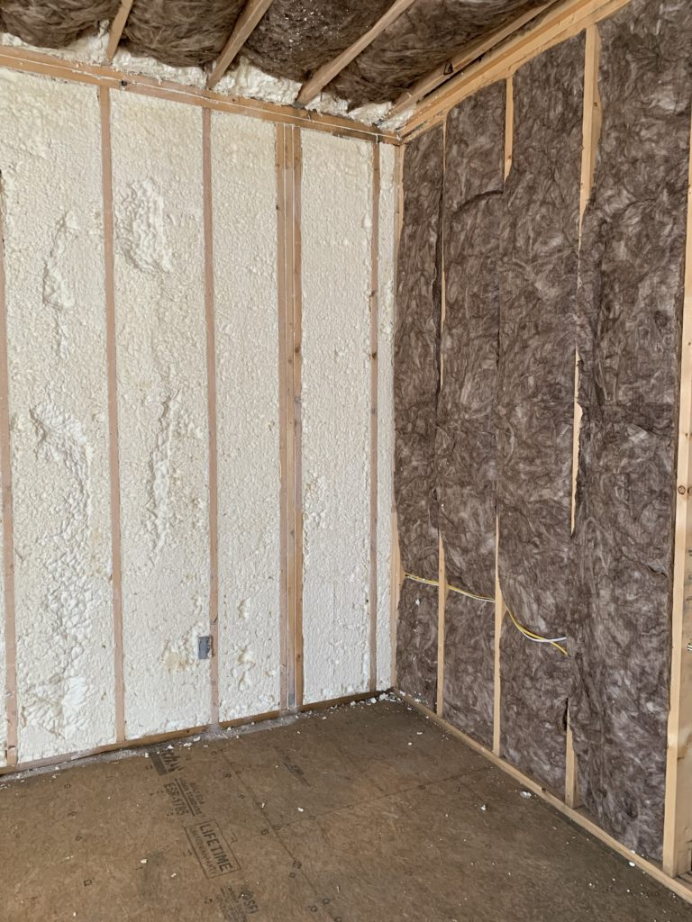 insulation (spray foam and fiberglass)