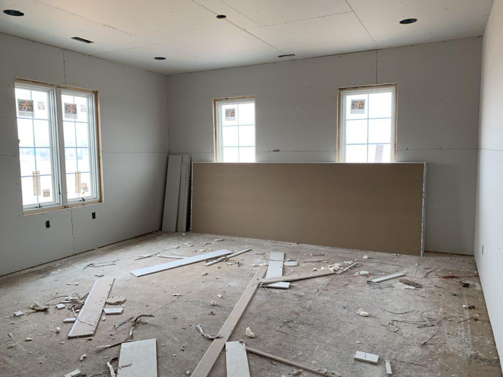 drywall in evie's room