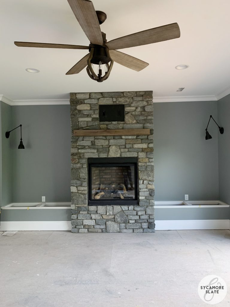 Master Bedroom fireplace with stone