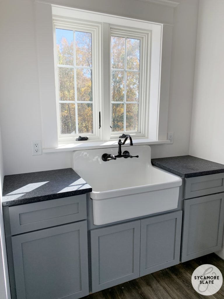 steel grey granite in laundry room