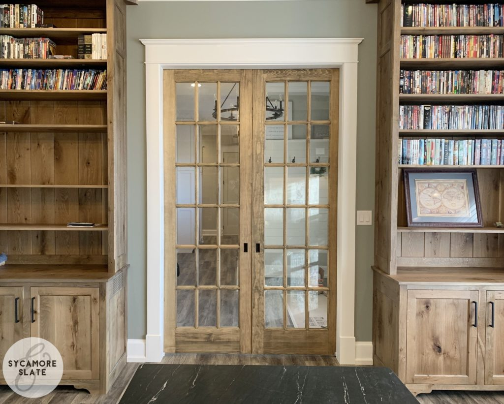 office bookshelves and sliding glass pocket doors