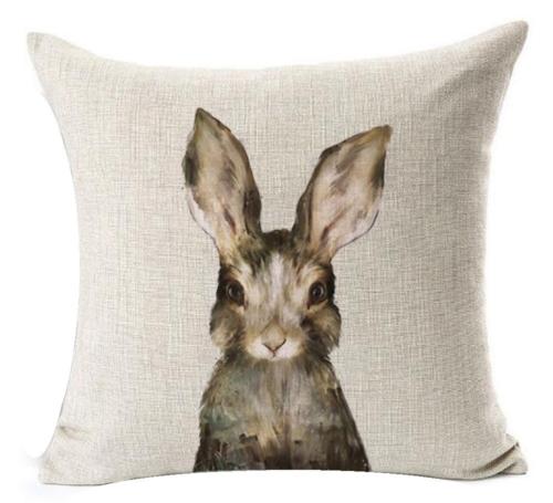curious bunny pillow