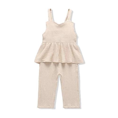 Ruffle-waist pants jumpsuit