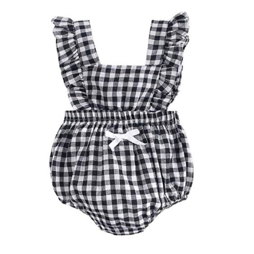 Buffalo check ruffle bodysuit