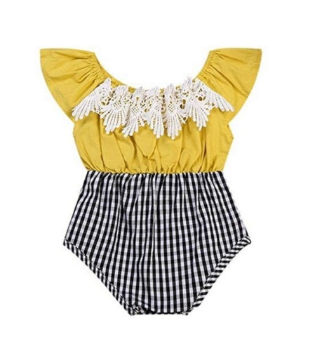 Yellow and plaid bodysuit with lace detail