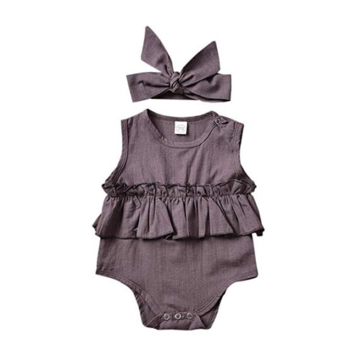 Purple ruffle waist bodysuit and bow