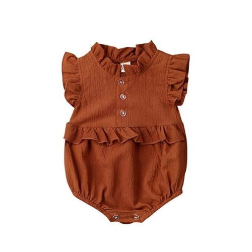 button-front ruffle-sleeve onesie