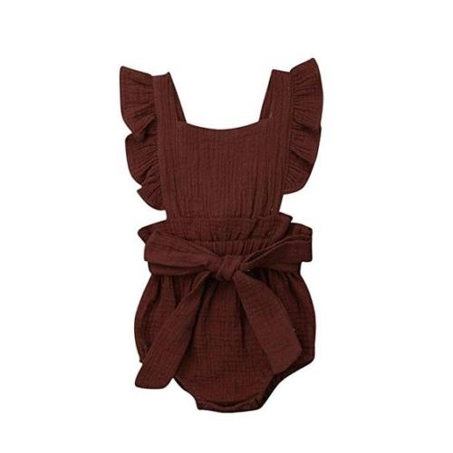 Ruffle-sleeve bow-front apron bodysuit