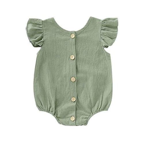 green button up ruffle-sleeve bodysuit