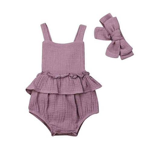 purple sleeveless ruffle waist bodysuit with bow
