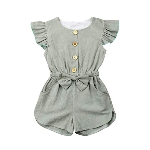 Button bow-front jumpsuit