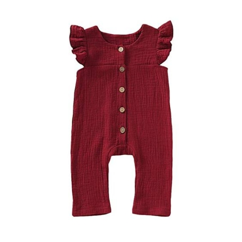 Button-front ruffle-sleeve pant jumpsuit